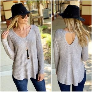 Heather Gray Ribbed Lace up Side Tunic
